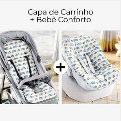 Capa de Carrinho + Capa de Bebê Conforto com Protetor de Cinto Carrinhos Azul e Bege