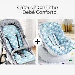 Capa de Carrinho + Capa de Bebê Conforto com Protetor de Cinto Chuva de Amor Azul