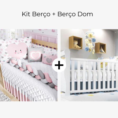 Kit Berço Trança Amor da Mamãe Rosa + Berço Americano Branco Dom