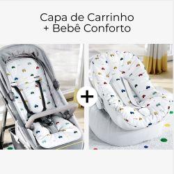 Capa de Carrinho + Capa de Bebê Conforto com Protetor de Cinto Carrinhos Coloridos