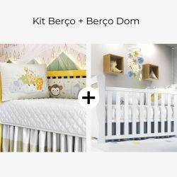Kit Berço Trança Selva Baby + Berço Americano Branco Dom
