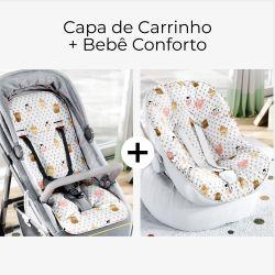 Capa de Carrinho + Capa de Bebê Conforto com Protetor de Cinto Fazendinha Poá