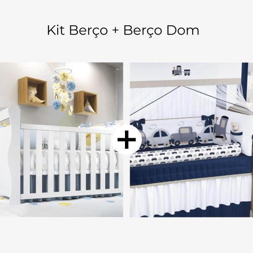 Kit Berço Carrinhos Azul Marinho + Berço Americano Branco Dom