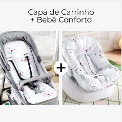 Capa de Carrinho + Capa de Bebê Conforto com Protetor de Cinto Amiguinhas Rosa