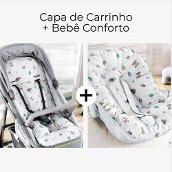 Capa de Carrinho + Capa de Bebê Conforto com Protetor de Cinto Raposinha Cinza