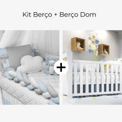 Kit Berço Trança Poá Azul Bebê + Berço Americano Branco Dom