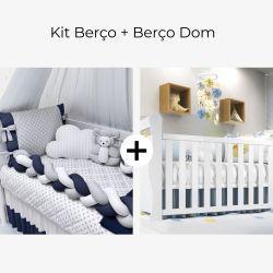 Kit Berço Trança Poá Azul Marinho + Berço Americano Branco Dom