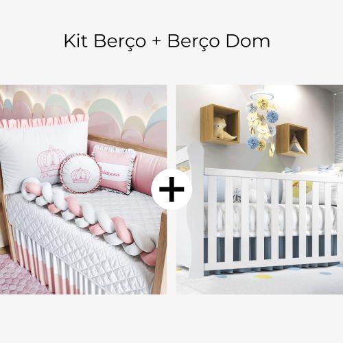 Kit Berço Trança Menina Princesa Rosa + Berço Americano Branco Dom