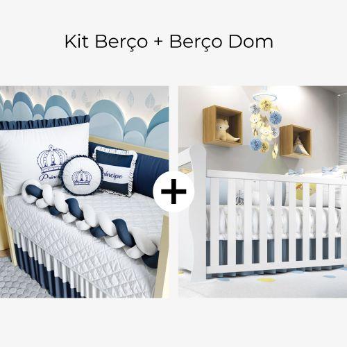 Kit Berço Trança Menino Príncipe Azul Marinho + Berço Americano Branco Dom