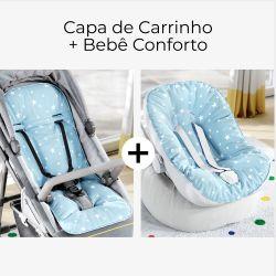 Capa de Carrinho + Capa de Bebê Conforto com Protetor de Cinto Estrelinhas Azul e Branco