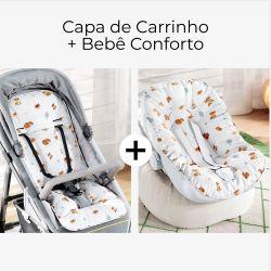Capa de Carrinho + Capa de Bebê Conforto com Protetor de Cinto Raposinha Laranja