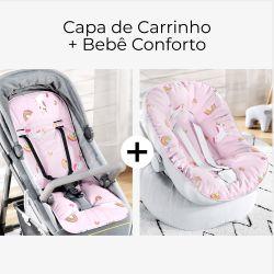 Capa de Carrinho + Capa de Bebê Conforto com Protetor de Cinto Amiguinhas Unicórnio Rosa