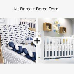 Kit Berço Trança Carrinhos Azul Marinho + Berço Americano Branco Dom