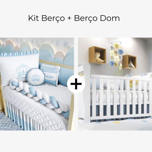 Kit Berço Trança Menino Príncipe Azul + Berço Americano Branco Dom