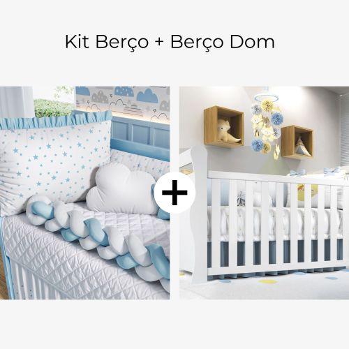 Kit Berço Trança Estrelinha Azul Claro + Berço Americano Branco Dom