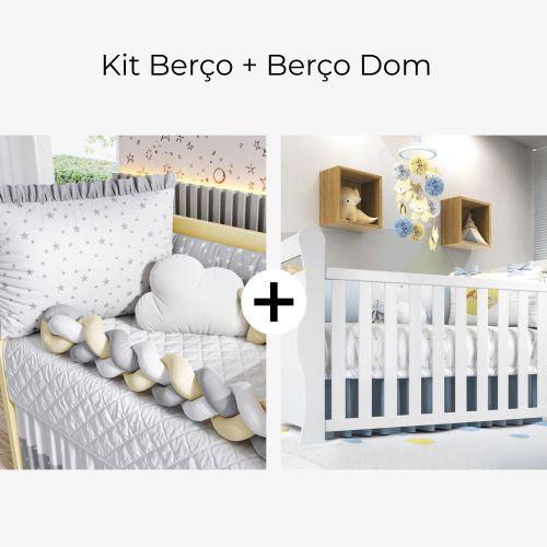 Kit Berço Trança Estrelinha Cinza e Amarelo + Berço Americano Branco Dom