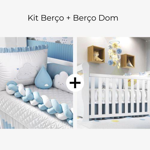 Kit Berço Trança Nuvem de Amor Azul + Berço Americano Branco Dom