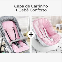 Capa de Carrinho + Capa de Bebê Conforto com Protetor de Cinto Rosa