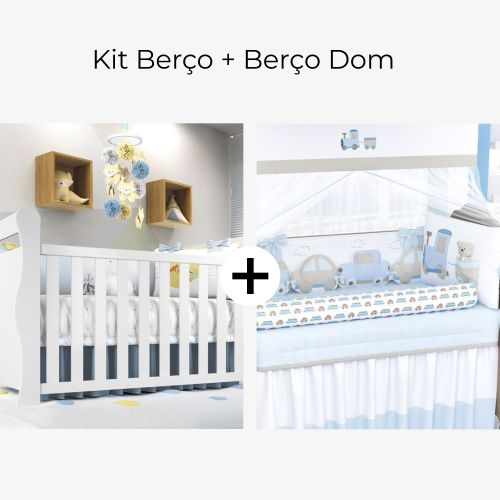 Kit Berço Carrinhos + Berço Americano Branco Dom