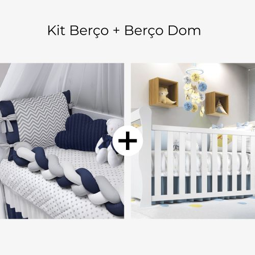 Kit Berço Trança Chevron Azul Marinho + Berço Americano Branco Dom