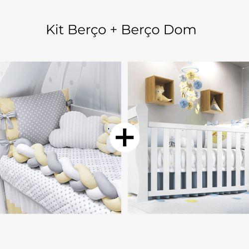 Kit Berço Trança Poá Amarelo + Berço Americano Branco Dom