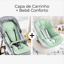 Capa de Carrinho + Capa de Bebê Conforto com Protetor de Cinto Verde