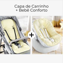 Capa de Carrinho + Capa de Bebê Conforto com Protetor de Cinto Amarelo