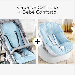 Capa de Carrinho + Capa de Bebê Conforto com Protetor de Cinto Azul