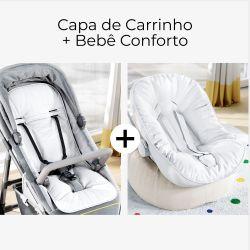 Capa de Carrinho + Capa de Bebê Conforto com Protetor de Cinto Branco