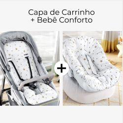 Capa de Carrinho + Capa de Bebê Conforto com Protetor de Cinto Estrelinhas Branco e Dourado