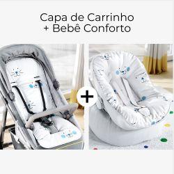 Capa de Carrinho + Capa de Bebê Conforto com Protetor de Cinto Azul Amiguinhos