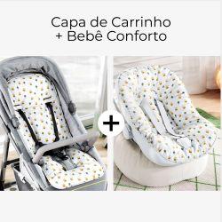 Capa de Carrinho + Capa de Bebê Conforto com Protetor de Cinto Amiguinha Girafinha
