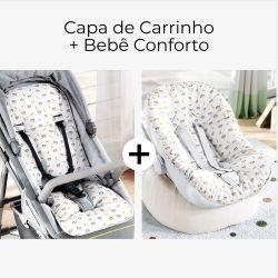 Capa de Carrinho + Capa de Bebê Conforto com Protetor de Cinto Amiguinho Macaquinho