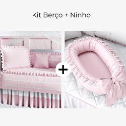 Kit Berço Rosa Amor + Ninho para Bebê Redutor de Berço Rosa Clássico 80cm