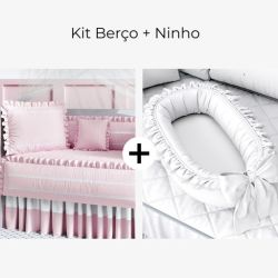 Kit Berço Rosa Amor + Ninho para Bebê Redutor de Berço Branco Clássico 80cm