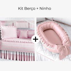 Kit Berço Rosa Amor + Ninho para Bebê Redutor de Berço Rosé Clássico 80cm