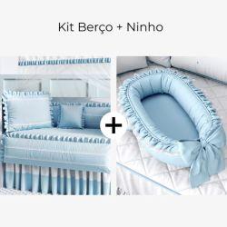 Kit Berço Azul Tranquilidade + Ninho para Bebê Redutor de Berço Azul Clássico 80cm