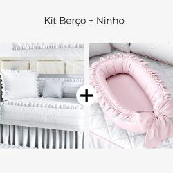 Kit Berço Branco Paz + Ninho para Bebê Redutor de Berço Rosa Clássico 80cm