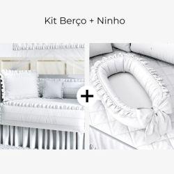Kit Berço Branco Paz + Ninho para Bebê Redutor de Berço Branco Clássico 80cm