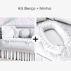 Kit Berço Floral Petit + Ninho para Bebê Redutor de Berço Branco Clássico 80cm
