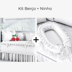 Kit Berço Cerejinhas + Ninho para Bebê Redutor de Berço Branco Clássico 80cm