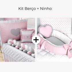 Kit Berço Trança Coração Rosa + Ninho para Bebê Redutor de Berço Coração Rosa e Cinza