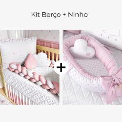 Kit Berço Trança Nuvem Coração Rosa + Ninho para Bebê Redutor de Berço Pompom e Corações 80cm