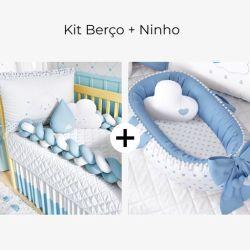 Kit Berço Trança Nuvem Coração Azul + Ninho para Bebê Redutor de Berço Pompom e Corações Azul 80cm