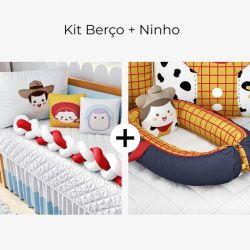 Kit Berço Trança Toy Story + Ninho para Bebê Redutor de Berço Toy Story Woody 80cm