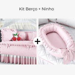 Kit Berço Cerejinhas Rosa + Ninho para Bebê Redutor de Berço Rosa Clássico 80cm