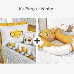 Kit Berço Trança Simba O Rei Leão + Ninho para Bebê Redutor de Berço Amiguinho Simba O Rei Leão 80cm