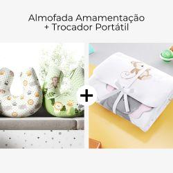 Almofada Amamentação Dupla Face Amiguinhos Safári Poá + Trocador de Fraldas Portátil Balão Safári Aquarela
