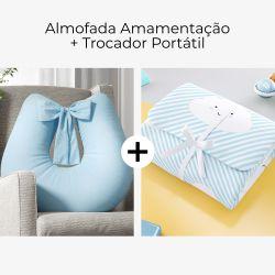 Almofada Amamentação Azul Tranquilidade + Trocador de Fraldas Portátil Nuvem de Algodão Azul