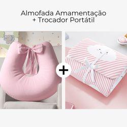 Almofada Amamentação Rosa Amor + Trocador de Fraldas Portátil Nuvem de Algodão Rosa